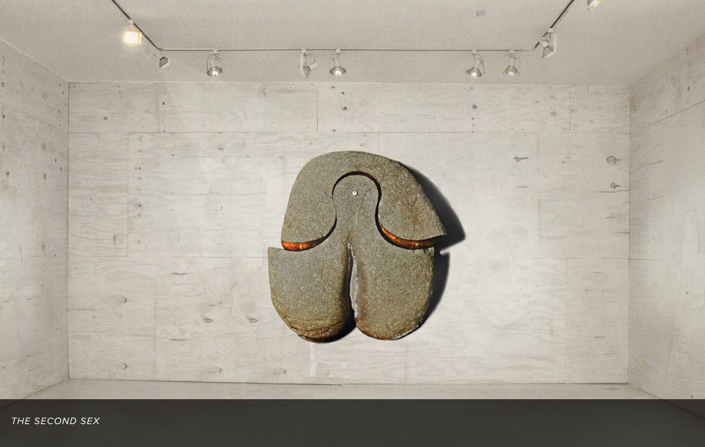"Gurmit's sculpture installation, ""The Second Sex"" in granite and gold foil."