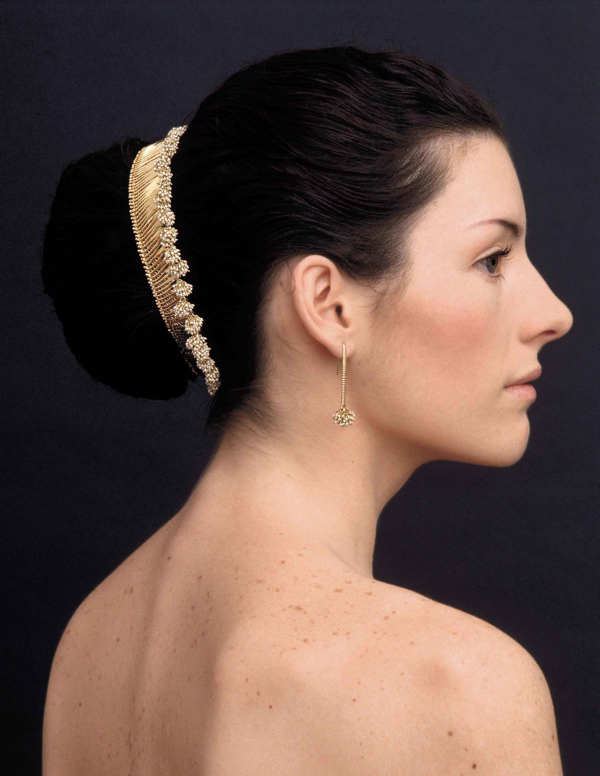 Gurmit's hair jewellery in 18k Gold and pearls