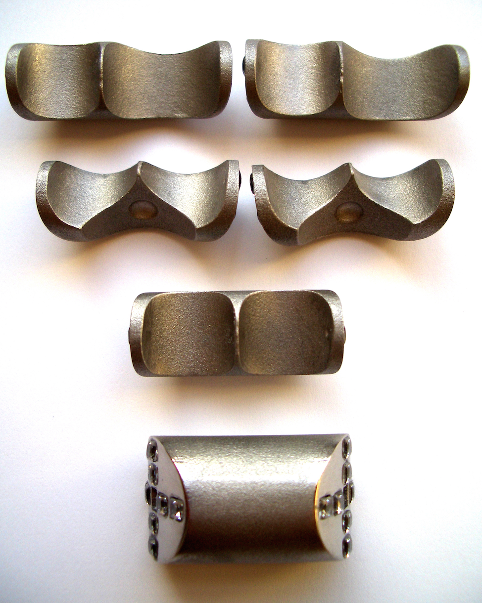 6 parts elements prototypes of the Gurmit's Puzzle ring for Swarovski.