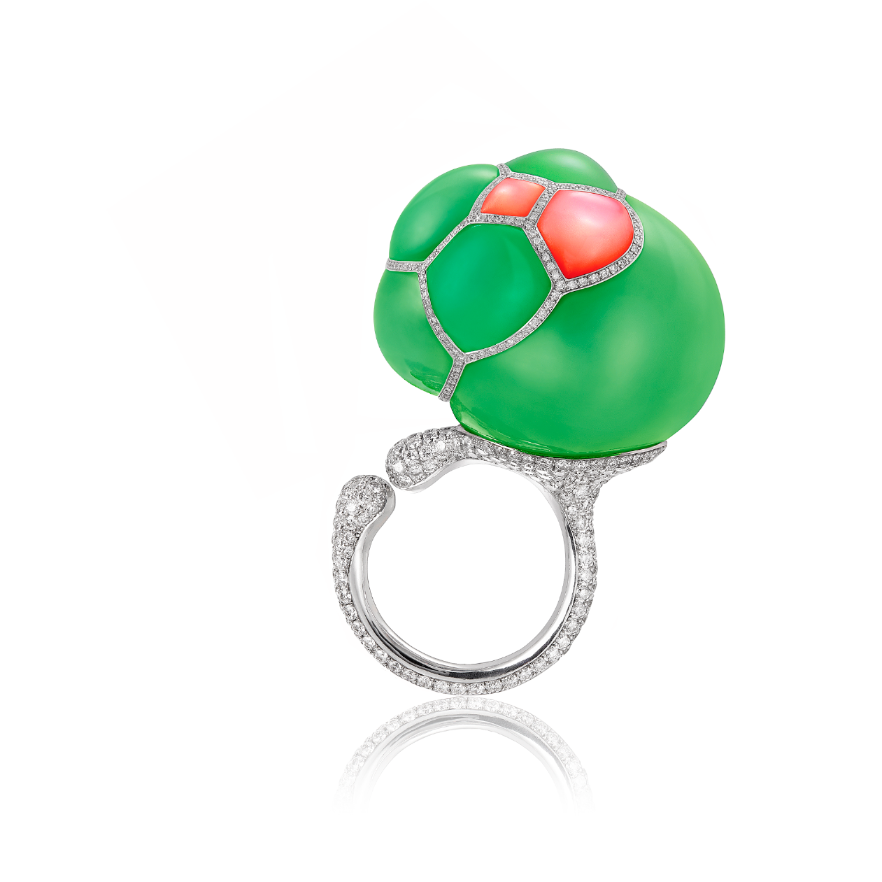Gurmit's Bubble Ring in white gold, red coral diamonds and chrysoprase  inspired by structures of soap bubbles.