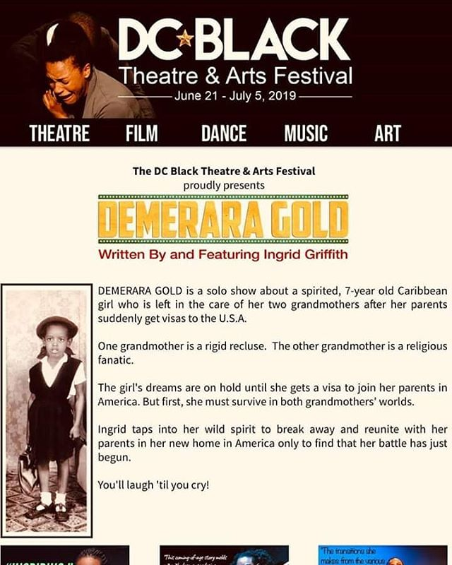 So happy to be in DC to present Demerara Gold! The 1st show is about to start but if you havent gotten tix dobt worry! Last performance is tomorrow at 3p. Click the link in my bio to get your tix now!  DEMERARA  GOLD is THIS WEEKEND in the DC Black Theatre & Arts Festival at The Anacostia Arts Center  on SATURDAY, JUNE 29 @ 3pm and SUNDAY, JUNE 30 @ 3pm  1 Woman.  18 Characters.  A true story.  An experience you won't want to miss.  Admission: $15  TICKETS available online: www.dcbtaf.org TICKETS will also be available AT THE DOOR.