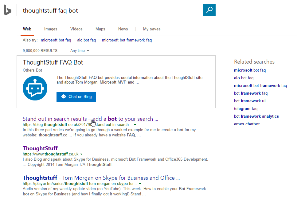 You can now write bots for your business that show up in Bing search results.