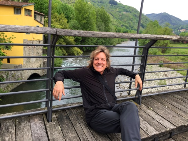 Hanging out on the main street bridge where my momwas born in Bagni di Lucca.
