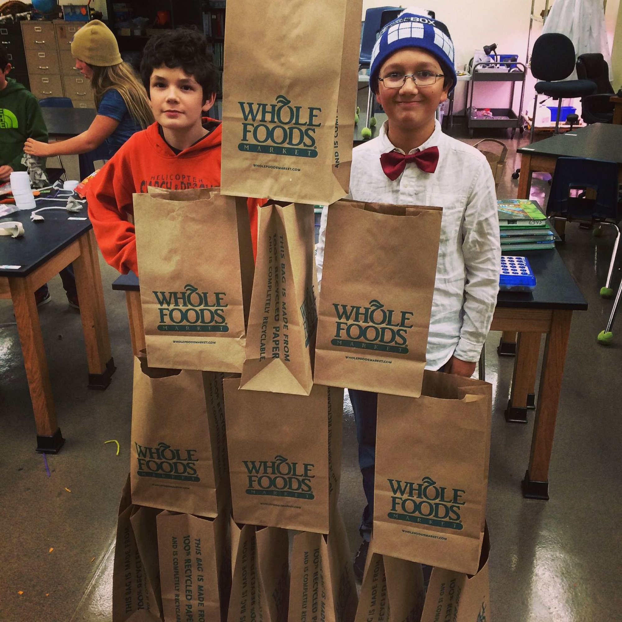 """Empty Paper Bag Towers at King Middle School in Berkeley, CA. Part of a """"What Can We Do With A Paper Bag?"""" Challenge."""