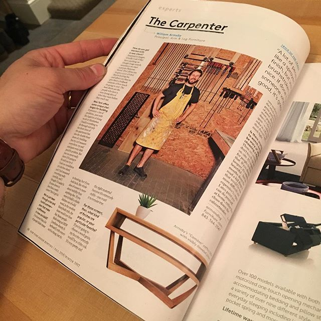Hey @nymag! Thanks for the love! It took a month to procure a copy, but today I'm finally getting a chance to see it on paper. It's an interview about how to get the best experience working with a custom cabinet maker. As an extra flattering bonus they featured my coffee table design, named after my lovely wife,  @camdenarmsby!