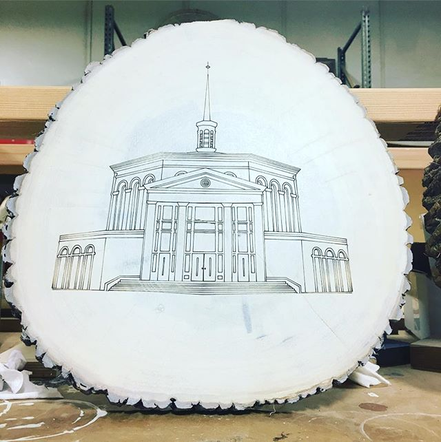Preparing a custom plaque for a special client. We chainsawed this section from a downed tree on the church property, and laser cut it with a line drawing of the church itself. Now I'm applying a light pickle, to make the image stand out from the background.