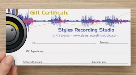 Styles Recording Studio Gift Expeirence Certificates