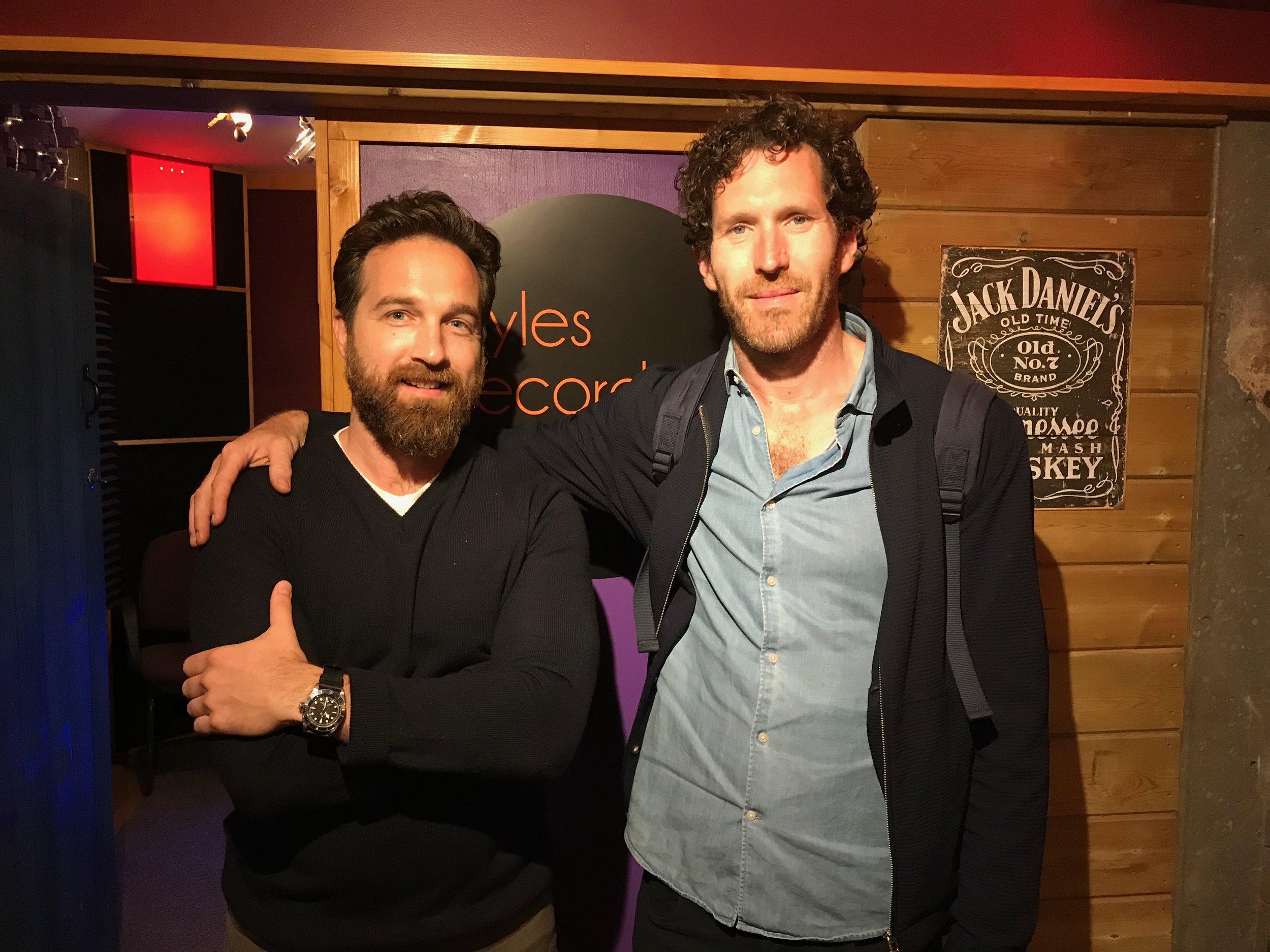 LA Film producer Kyle Roper and creative photographer Brendan Barry after a film documenty narration studio session..