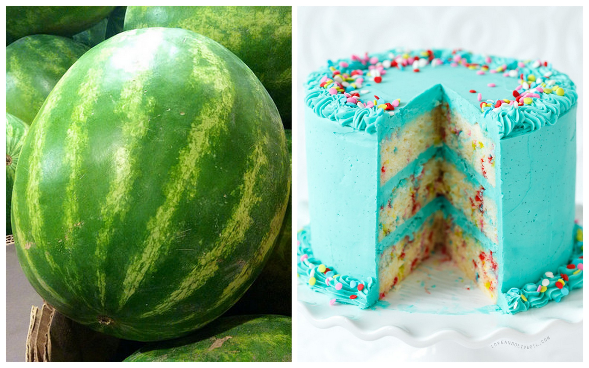 Watermelon    and    three-tier funfetti cake   .