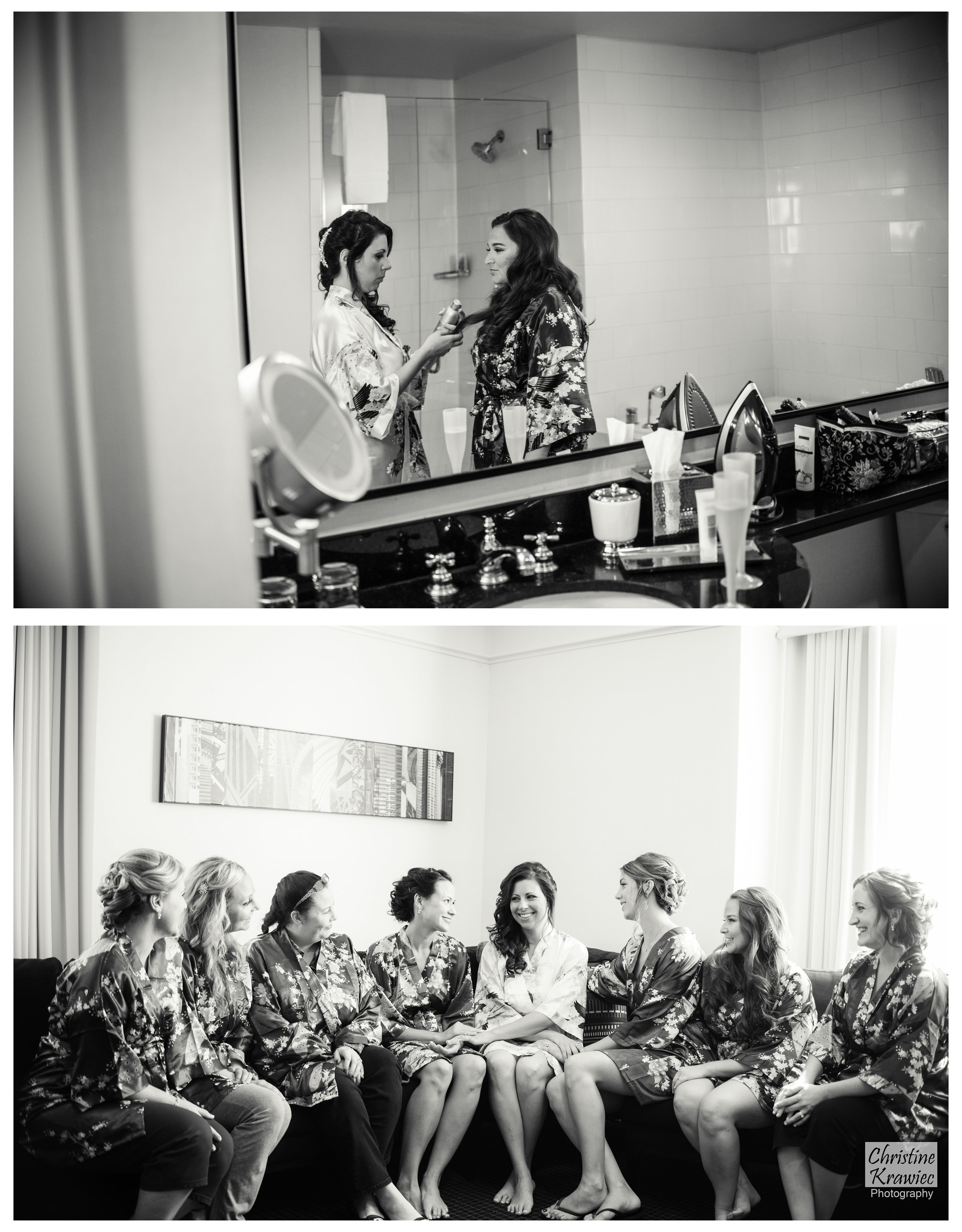 Even on her wedding day, Lauren was thinking about her girls, from their beautiful bridesmaid robes, to helping with their hair!
