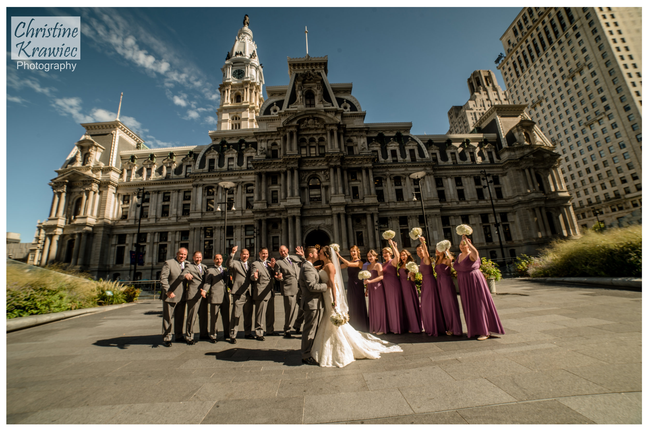 We headed to Philadelphia City Hall for the Bridal Party photos - this clan was so fun!