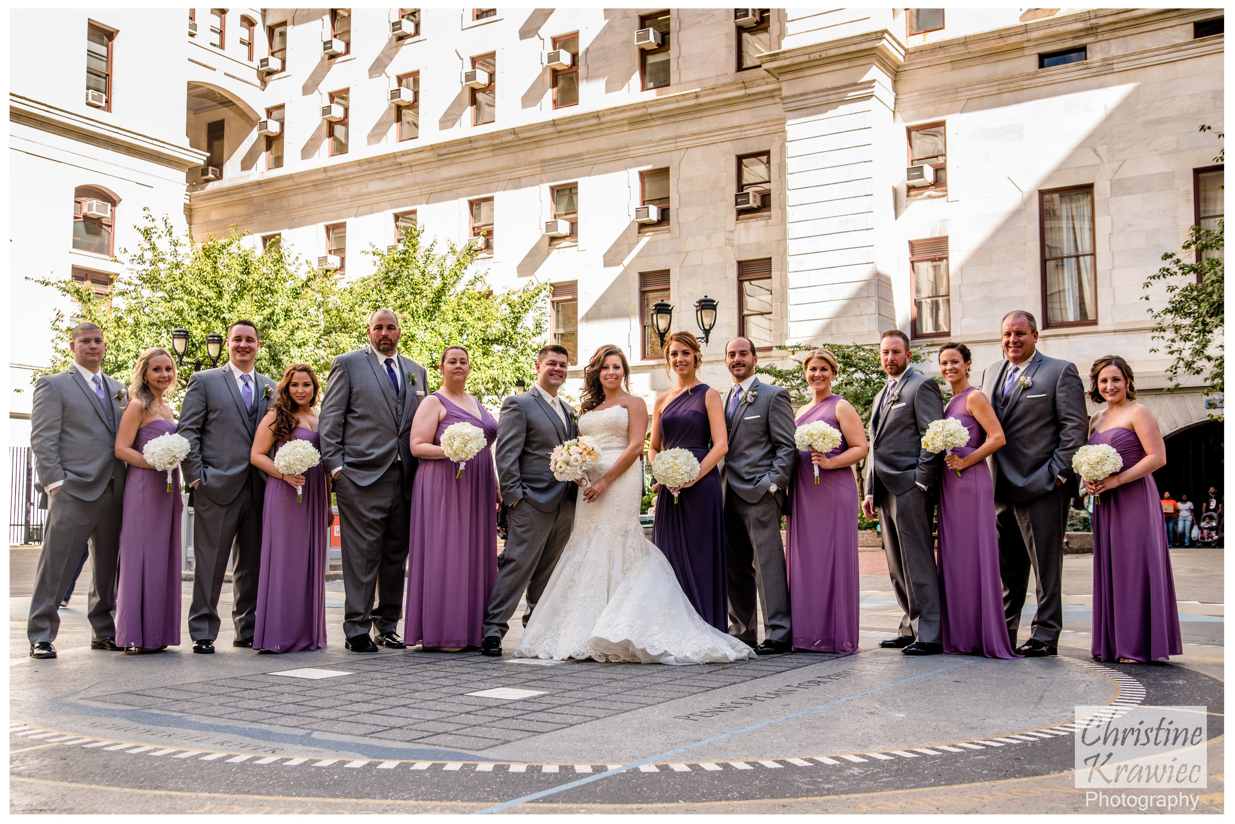 Bridal Party in the City Hall courtyard