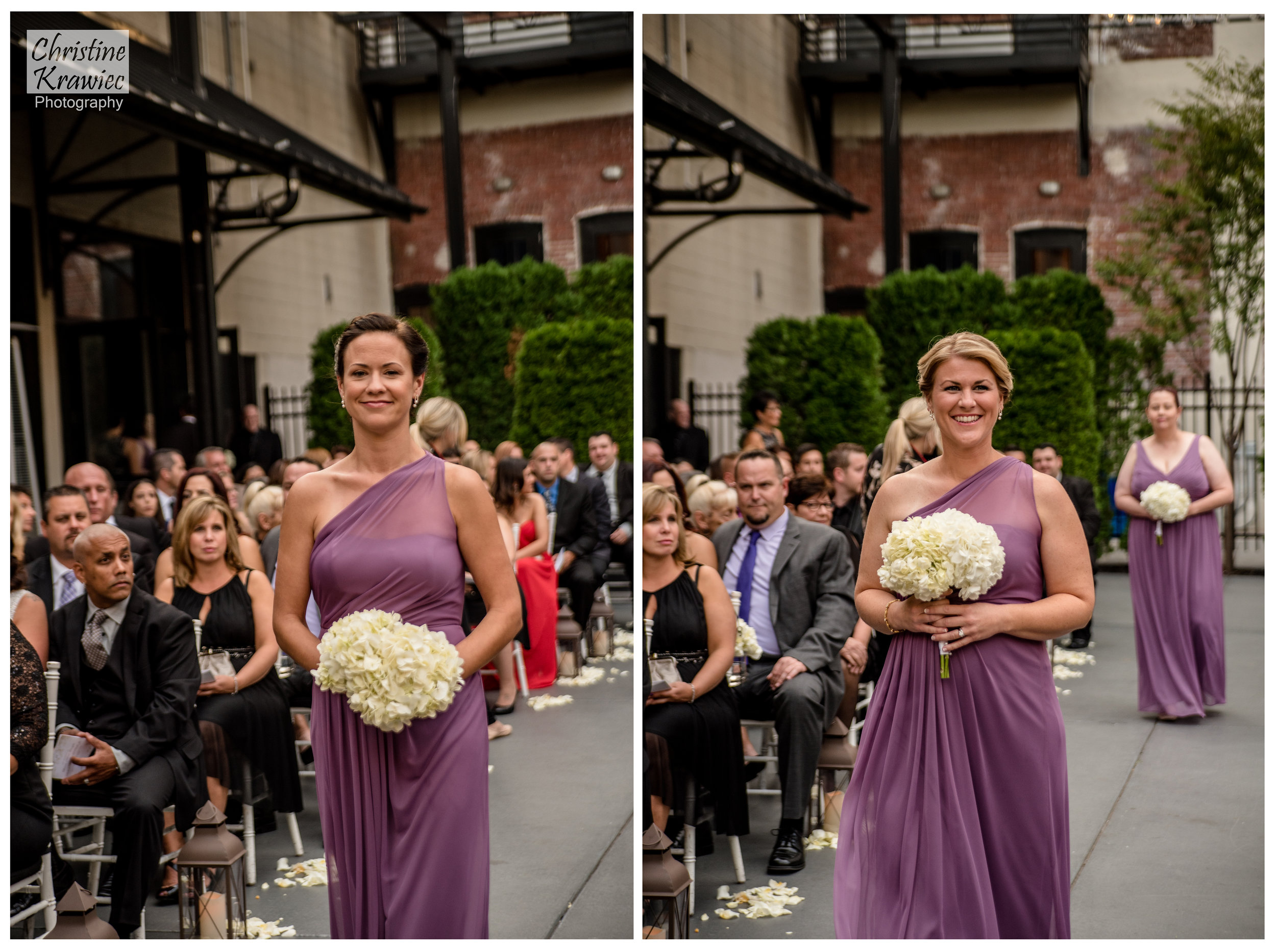 Ladies in purple making their way down the aisle