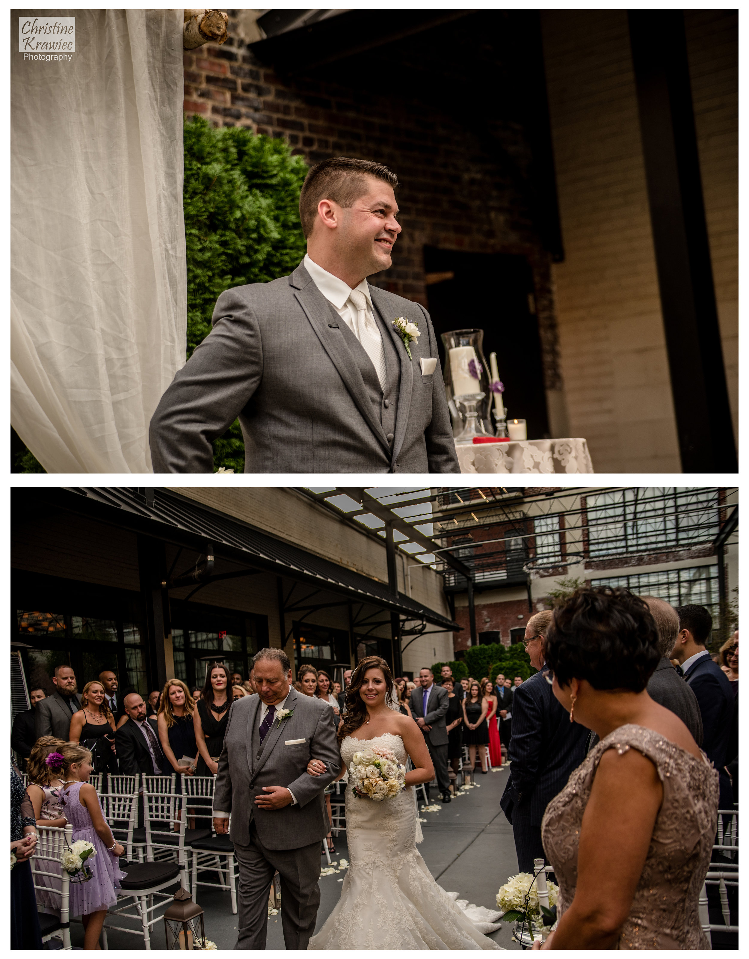 Mike watching his one of a kind bride make her way down the aisle.  I love the glance Lauren shares with her mom