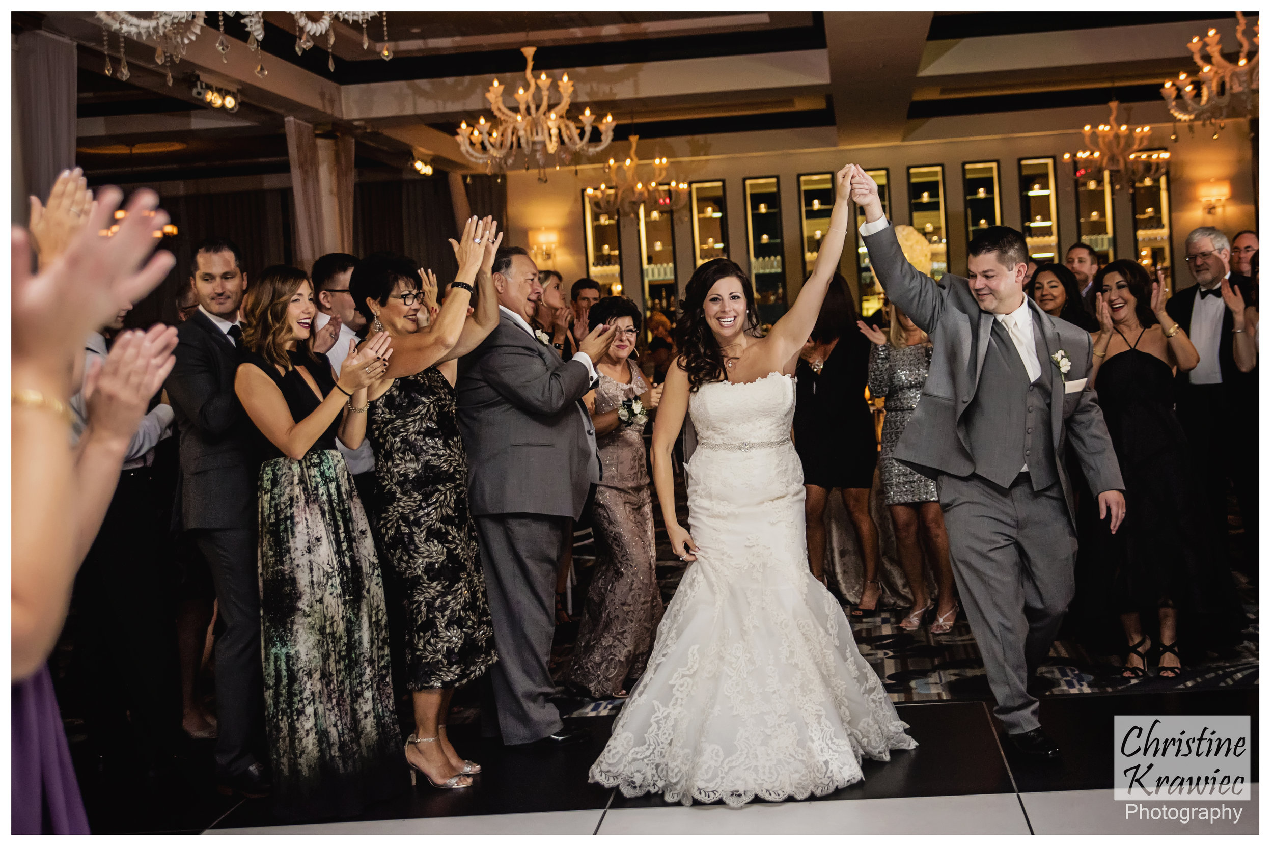 Lauren and Mike asked for everyone to be up and dancing before they came into the reception.  This was such a great idea as it got everyone on their feet and the energy UP for introductions