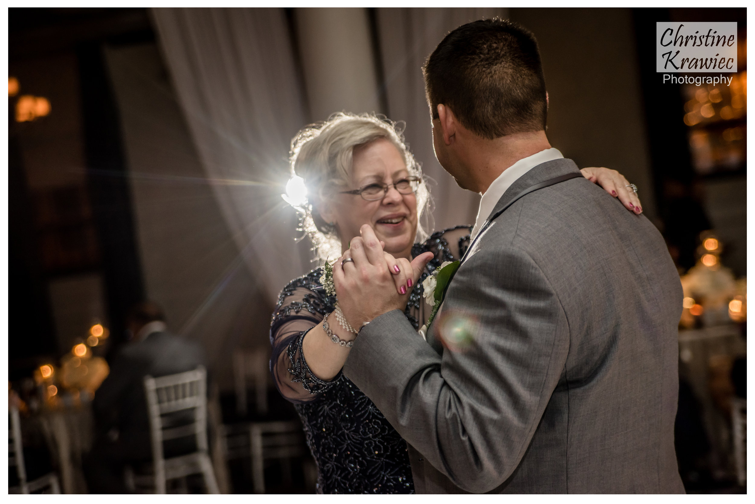 Mike and his mom sharing a sweet moment during their mother son dance
