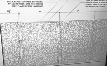 Drawings for the fence mimic the natural patterns found on leaves.