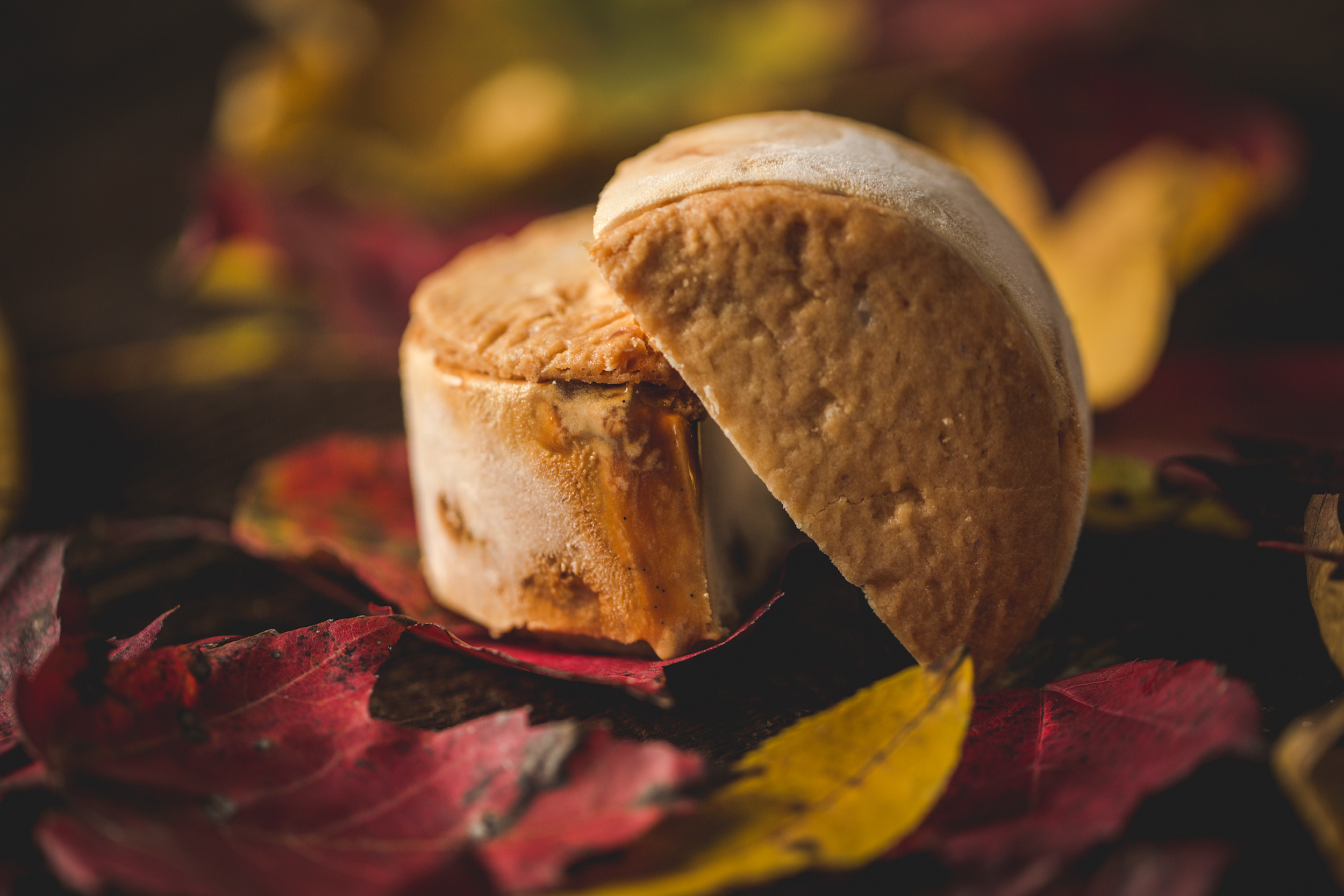 Pumpkin Caramel Ice Cream on Shortbread cookies. Roasted pumpkin ice cream with swirls of homemade creamy caramel throughout. Sure to impress all your holiday guests. Photo by Matt Dayak