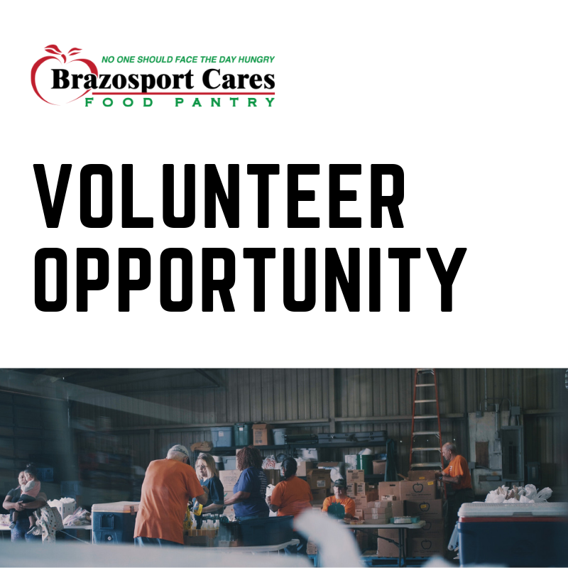 - We are currently seeking volunteers to help Brazosport Cares and The Carpenter's House with our Farmers Market. Please contact Carolina Aguilar at (979) 239-1225 or carolina@brazosportcares.org