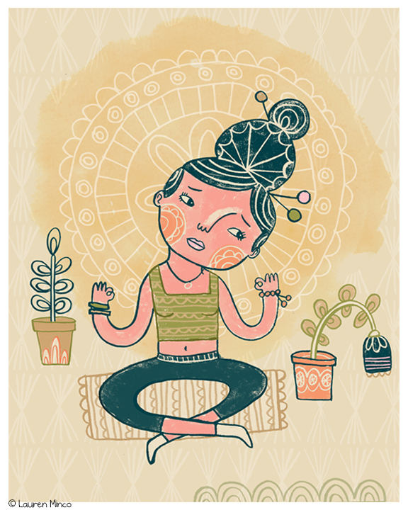 May (no class in April): an editorial illustration for an article about the difficulties of meditation.