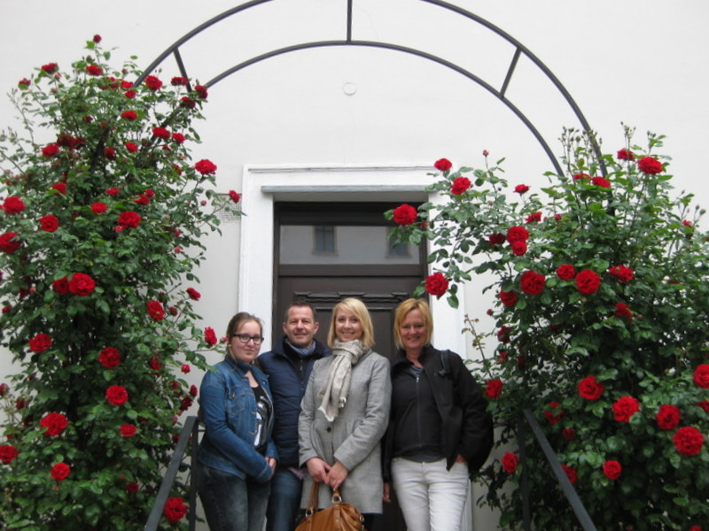 Vienna Greeters visitors amongst the flowers
