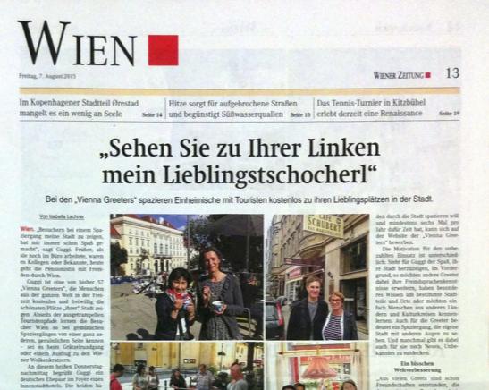 Screenshot des Artikels in der Wiener Zeitung