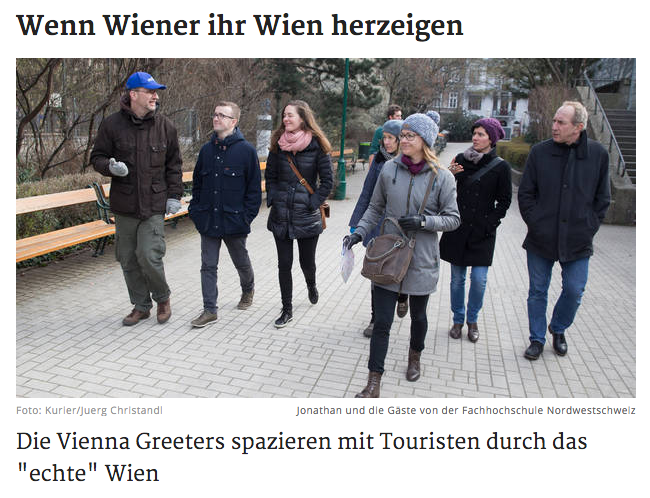 Screenshot des Artikels über Vienna Greeters im Kurier