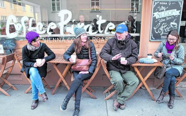 Taking a coffee break on a walk through Vienna