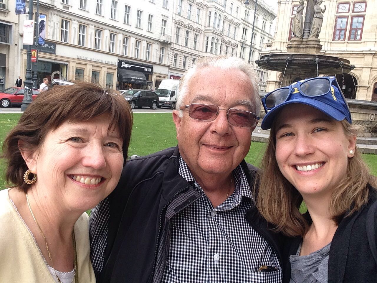Happy faces on a walk through the city