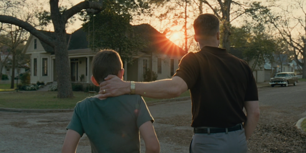 Hunter McCracken and Brad Pitt in Terrence Malick's     The Tree of Life