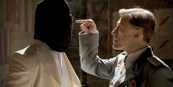 Christoph Waltz and a bagged Brad Pitt in Quentin Tarantino's  Inglourious Basterds