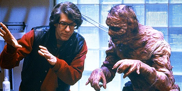 David Cronenberg directs Jeff Goldblum on the set of     The Fly
