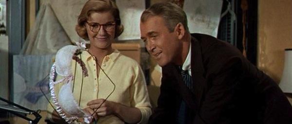 Barbara Bel Geddes and James Stewart in Alfred Hitchcock's  Vertigo