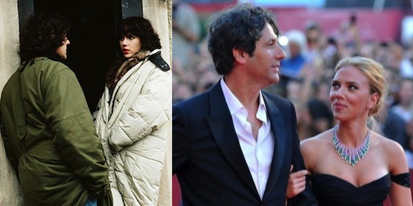 Jonathan Glazer and Scarlett Johansson on the     Under the Skin     set (left); at the Venice Film Festival premiere (right)