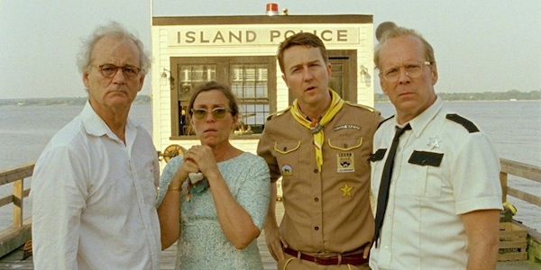 Bill Murray, Frances McDormand, Edward Norton, and Bruce Willis in Wes Anderson's     Moonrise Kingdom