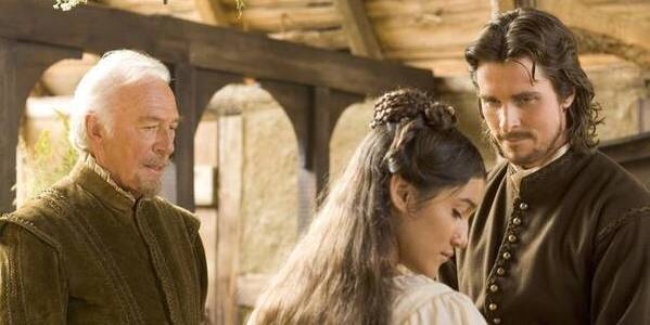 Christopher Plummer, Q'orianka Kilcher, and Christian Bale in Terence Malick's  The New World