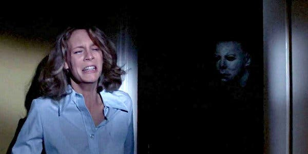 Jamie Lee Curtis and Nick Castle in John Carpenter's  Halloween