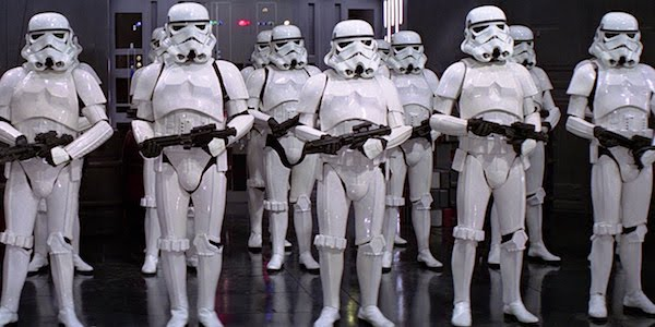 George Lucas' stormtroopers in  Star Wars: Episode IV—A New Hope