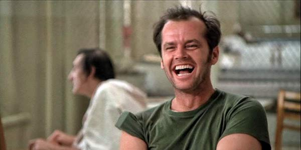 Jack Nicholson in Milos Forman's  One Flew Over the Cuckoo's Nest