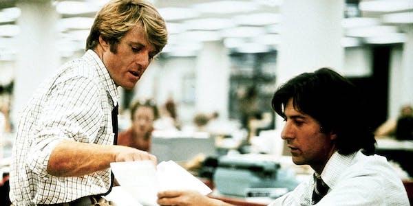 Robert Redford and Dustin Hoffman in Alan J. Pakula's  All the President's Men
