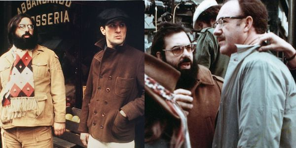 (left) Francis Ford Coppola and Robert De Niro on the set of  The Godfather Part II  (right) FFC and Gene Hackman on the set of  The Conversation