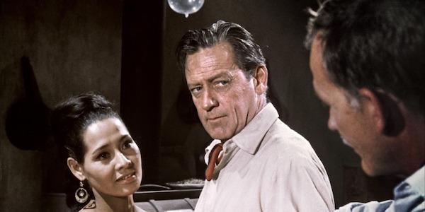 Elsa Cardenas, William Holden, and Ben Johnson in Sam Peckinpah's  Wild Bunch
