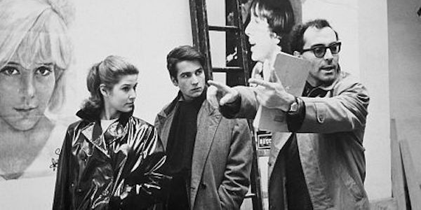 Jean-Luc Godard (right) with Jean-Pierre Leaud and Marlene Jobert on the set of  Masculin Feminin