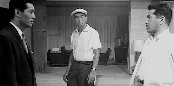Akira Kurosawa (center) with Tatsuya Nakadai (left) and Toshiro Mifune (right) on the set of  High and Low