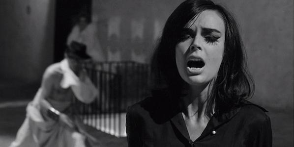 Barbara Steele and Marcello Mastroianni (background) in Federico Fellini's  8 ½