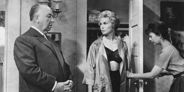 Alfred Hitchcock on the  Psycho  set with Janet Leigh and costume designer Rita Riggs