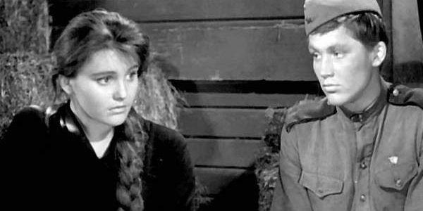 Zhanna Prokhorenko and Vladimir Ivashov in Grigoriy Chukhray's  Ballad of a Soldier