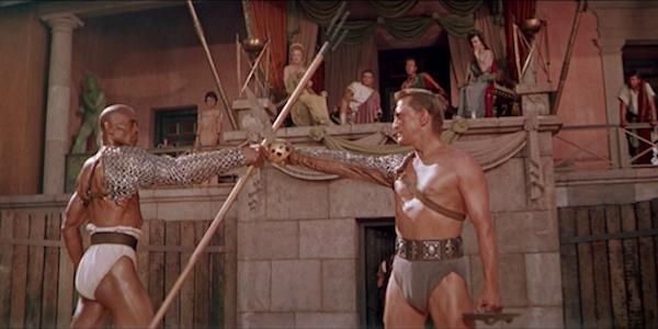 Woody Strode and Kirk Douglas in Stanley Kubrick's  Spartacus