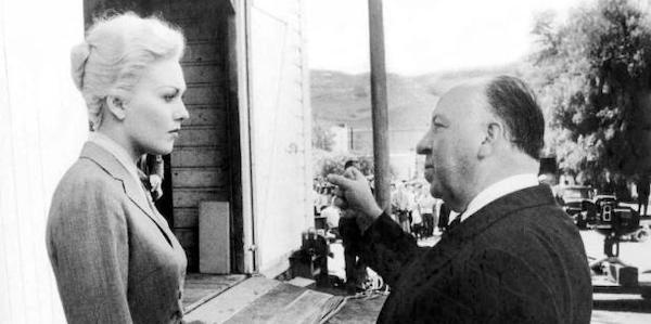 Kim Novack and Alfred Hitchcock on the set of  Vertigo