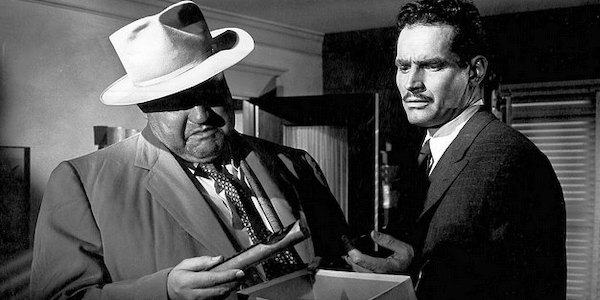 Orson Welles and Charlton Heston in Welles'  Touch of Evil